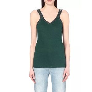 Maje Green Metallic Strap Tank